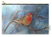 Male House Finch With Blue Texture Carry-all Pouch
