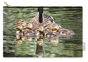 Mallard Hen With Ducklings And Reflection Carry-all Pouch