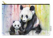 Panda Watercolor Mom And Baby Carry-all Pouch by Olga Shvartsur