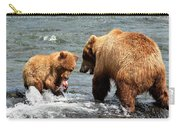 Mama And Baby Grizzly Bear At The Falls Carry-all Pouch