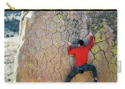 Man Bouldering On An Overhang Carry-all Pouch