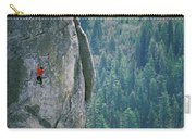 Man Climbing On A Big Granite Spire Carry-all Pouch