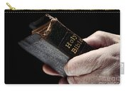 Man Hands Holding Old Bible Carry-all Pouch