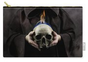 Man In The Hooded Cloak Holding Burning Human Skull In His Hand Carry-all Pouch