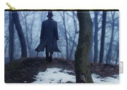 Man In Top Hat Walking Through Foggy Woods Carry-all Pouch