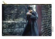 Man In Trenchcoat Lighting A Cigarette Carry-all Pouch