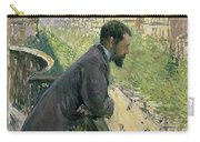 Man On A Balcony Carry-all Pouch by Gustave Caillebotte
