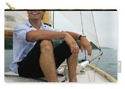 Man Smiling On Sailboat, Casco Bay Carry-all Pouch