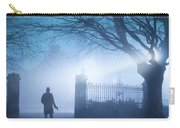 Man Standing In Foggy Gateway At Night Carry-all Pouch