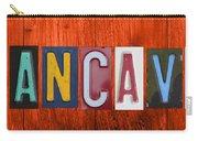 Mancave License Plate Letter Vintage Phrase Artwork On Burnt Orange Wood Carry-all Pouch