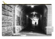 Man's Silhouette In Urban Tunnel Black And White Carry-all Pouch