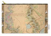 Map Depicting Plantations On The Mississippi River From Natchez To New Orleans Carry-all Pouch