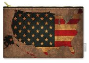 Map Of America United States Usa With Flag Art On Distressed Worn Canvas Carry-all Pouch