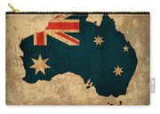 Map Of Australia With Flag Art On Distressed Worn Canvas Carry-all Pouch