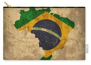 Map Of Brazil With Flag Art On Distressed Worn Canvas Carry-all Pouch