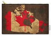 Map Of Canada With Flag Art On Distressed Worn Canvas Carry-all Pouch