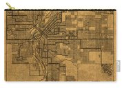 Map Of Denver Colorado City Street Railroad Schematic Cartography Circa 1903 On Worn Canvas Carry-all Pouch