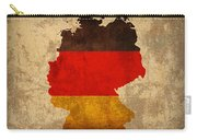 Map Of Germany With Flag Art On Distressed Worn Canvas Carry-all Pouch by Design Turnpike