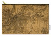 Map Of Kansas City Missouri Vintage Old Street Cartography On Worn Distressed Canvas Carry-all Pouch