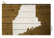 Map Of Maine State Outline White Distressed Paint On Reclaimed Wood Planks. Carry-all Pouch