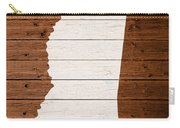 Map Of Mississippi State Outline White Distressed Paint On Reclaimed Wood Planks. Carry-all Pouch