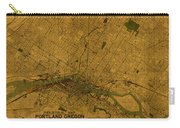 Map Of Portland Oregon City Street Schematic Cartography Circa 1924 On Worn Parchment  Carry-all Pouch