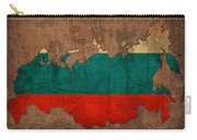 Map Of Russia With Flag Art On Distressed Worn Canvas Carry-all Pouch