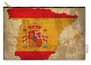 Map Of Spain With Flag Art On Distressed Worn Canvas Carry-all Pouch