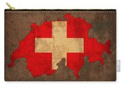 Map Of Switzerland With Flag Art On Distressed Worn Canvas Carry-all Pouch by Design Turnpike