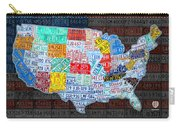 Map Of The United States In Vintage License Plates On American Flag Carry-all Pouch by Design Turnpike