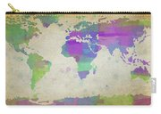 Map Of The World - Plaid Watercolor Splatter Carry-all Pouch