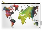 Map Of The World Red Green Carry-all Pouch