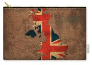 Map Of United Kingdom With Flag Art On Distressed Worn Canvas Carry-all Pouch