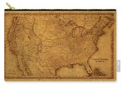 Map Of United States Of America Vintage Schematic Cartography Circa 1855 On Worn Parchment  Carry-all Pouch