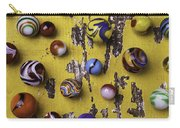 Marbles On Yellow Wooden Table Carry-all Pouch