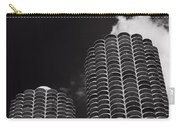 Marina City Morning B W Carry-all Pouch by Steve Gadomski