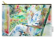 Mark Twain Sitting And Smoking A Cigar - Watercolor Portrait Carry-all Pouch by Fabrizio Cassetta