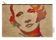 Marlene Dietrich Movie Star Watercolor Painting On Worn Canvas Carry-all Pouch