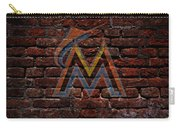 Marlins Baseball Graffiti On Brick  Carry-all Pouch by Movie Poster Prints