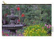 Garden Fountain And Flowers Carry-all Pouch