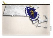 Massachusetts Map Art With Flag Design Carry-all Pouch