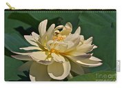 Mature Lotus Flower And Cute Hovering Honeybee Carry-all Pouch