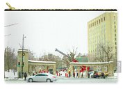 Mcgill Campus Student Cycles By Roddick Gates Sherbrooke St Montreal Winter Scene Carole Spandau  Carry-all Pouch