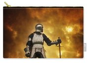 Medieval Knight In Armour On A Burning Battlefield Carry-all Pouch