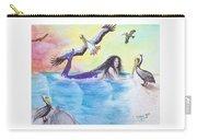 Mermaid Pelicans Surf Beach Cathy Peek Art Carry-all Pouch