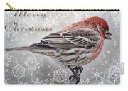 Merry Christman Finch Greeting Card Carry-all Pouch