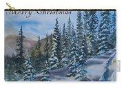 Merry Christmas - Winter Trees And Mountains Carry-all Pouch