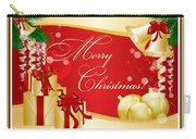 Merry Christmas Greeting With Gifts Bows And Ornaments Carry-all Pouch