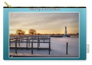 Merry Christmas Winter Marina And Lighthouse Carry-all Pouch