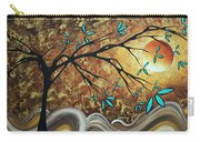 Metallic Gold Textured Original Abstract Landscape Painting Apricot Moon By Madart Carry-all Pouch